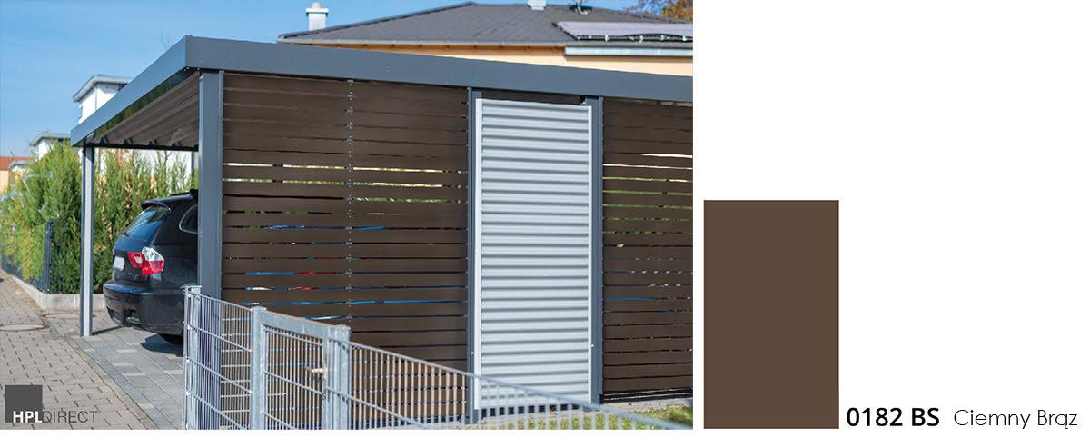 Wiata garażowa wykonana z płyt MPB w kolorze brązowym